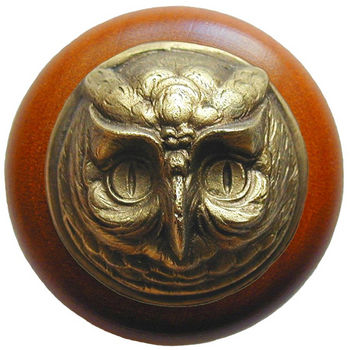 Knob, Wise Owl, Cherry Wood w/ Pewter, Antique Brass