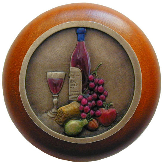 Knob, Best Cellar, Cherry Wood, Hand Tinted Brass