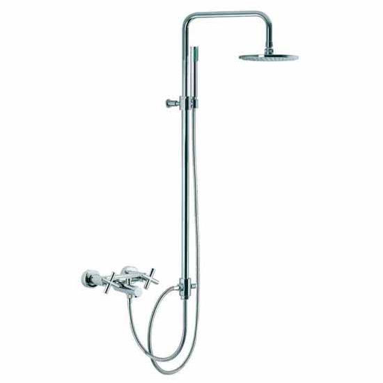 Nameeks Wall Mounted Tub/Shower Faucet with Rainhead and Hand Shower Set, 92-1/10 inch H x 11-4/5 inch D x 7-4/5 inch W x 0 inch