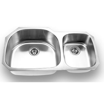 Nantucket 18 gauge stainless steel double bowl sink with strainer