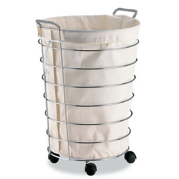 Neu Home Jumbo Rolling Laundry Basket w/ Canvas Bag