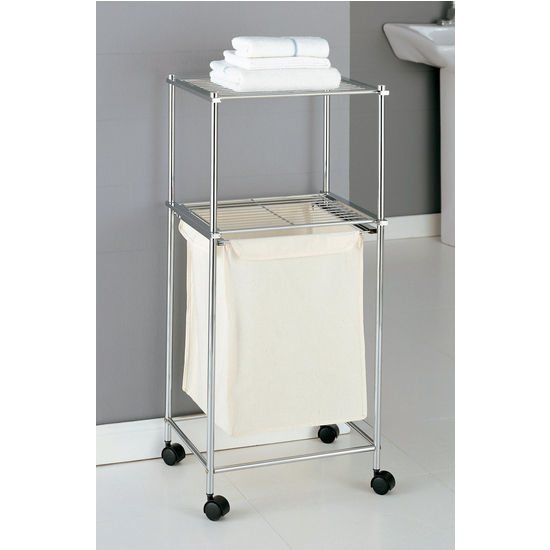 Neu Home  Two Tier Rolling Laundry Cart w/ Canvas Hamper