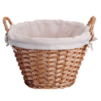 Round Wicker Laundry Basket w/ Cloth Liner
