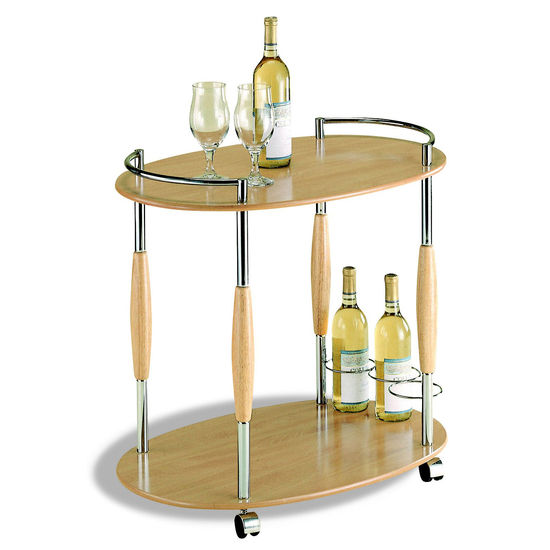 Neu Home Two Tier Serving Cart in Chrome & Natural Finish