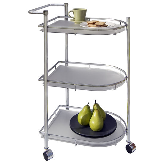 Neu Home Oval Serving Cart in Chrome Finish
