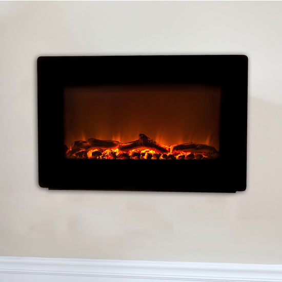 Outdoor Living Black Wall Mount Electric Fireplace