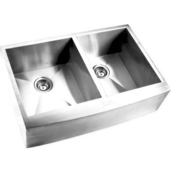 Yosemite Home D�cor Double Bowl Curved Apron Kitchen Sink