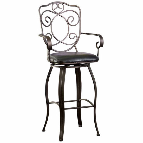 Powell Bronze with Muted Copper Scroll Back Bar Stool, 30 inch Seat Height