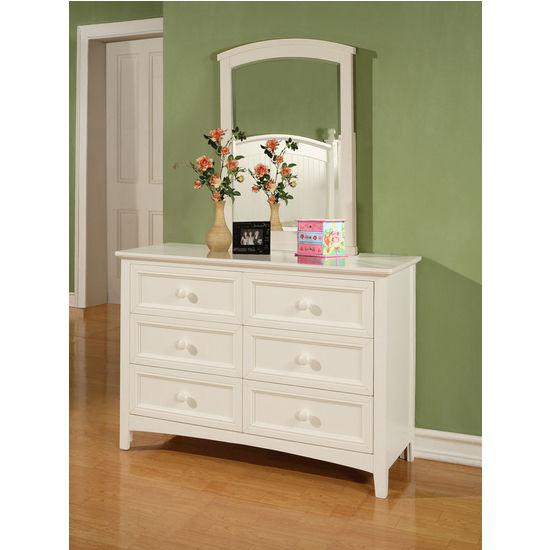 Powell Parker White 6-Drawer Dresser, 47-1/2 inch W x 18 inch D x 32-3/8 inch H