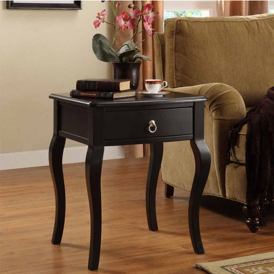 Powell Country French Black 1-Drawer Accent Table