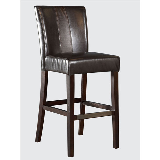 Powell Brown Faux Leather Parsons Bar Stool, 19 inch W x 24 inch D x 44-1/2 inch H, 30-1/4 inch Seat Height