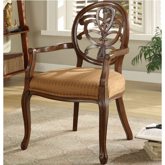 Powell Brown Scroll Back Accent Chair, 24-3/4 inch W x 25-1/2 inch D x 38-1/4 inch H, 18 inch Seat Height
