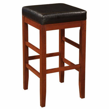 "Powell ""Cherry"" Square Backless Bar Stool with Black Bonded Leather Seat"