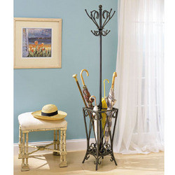 Powell - Garden District Coat Rack with Umbrella Stand, 16 W x 16 D x 68 1/2 H, Matte Black with Gold