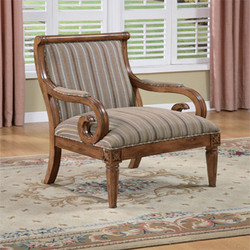 Powell - Kilarney Scroll Accent Chair, 31 W x 30 D x 39 H, Distressed Fruitwood