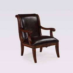 Powell - Alexandria Scroll Back Accent Chair w/Leather, 26 1/2 W x 31 5/8 D x 37 H, Deep Cherry