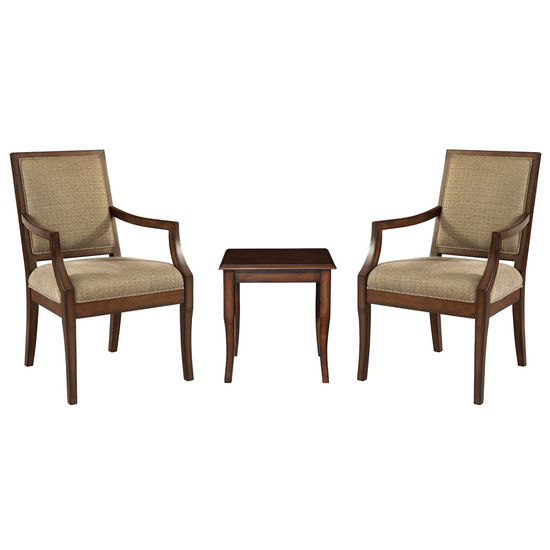 Powell 3-Pc. Set - 2 Rectangle-Back Accent Chairs with 1 Light Cherry End Table, Chairs: 23W x 25-1/2D x 37H; End Table: 17W x 1