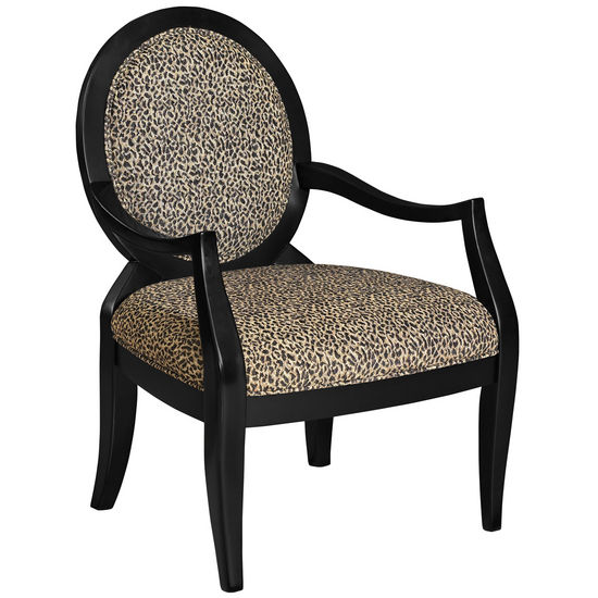 Powell Leopard Oval Back Accent Chair, 26W x 27-1/2D x 38H