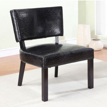 Crocodile Print Faux Leather Accent Chair