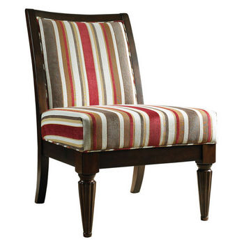 Brown Fruitwood Armless Accent Chair with Red & Brown Stripe
