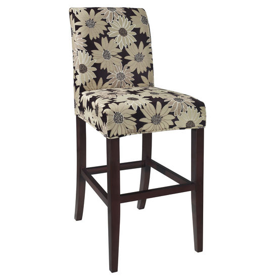 "Black Peppercorn Floral ""Slip Over"" for Counter or Bar Stool"