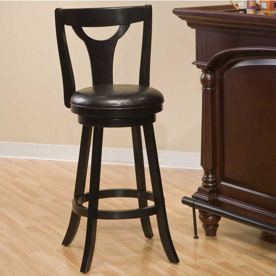 Hillsdale Furniture Hollis Swivel Bar Stool, Black, 17-1/2 inch W x 19 inch D x 43-1/4 inch H