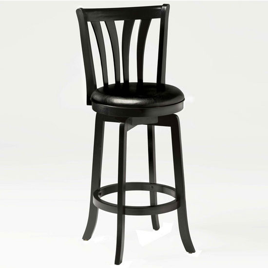 Hillsdale Furniture Savana Swivel Bar Stool, Black, 17-1/2 inch W x 19 inch D x 43-1/2 inch H