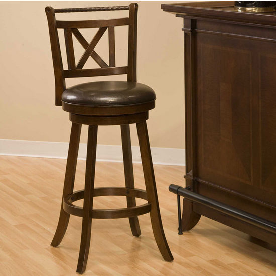 Hillsdale Furniture Glenmont Swivel Bar Stool, Cherry w/ Bronze Accents, 17-1/2 inch W x 19 inch D x 43-1/4 inch H