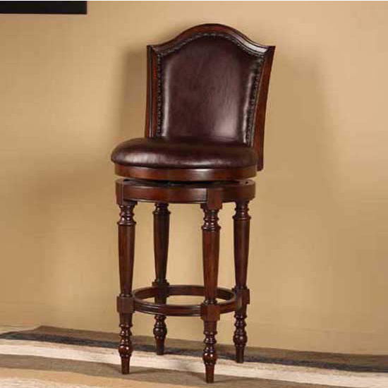 Hillsdale Furniture Barcelona Swivel Counter Stool, Brown Cherry Finish, Brown Vinyl Seat