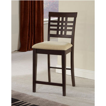 Hillsdale Furniture Tiburon Non-Swivel Counter Stools - Set of 2, Espresso Finish, Ivory Seat