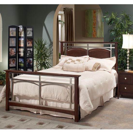 Hillsdale Banyan Bed Set w/ Rails, Queen Size, HB: 51?in.H x 65?in.W, FB: 35?in.H x 65?in.W , Espresso w/ Nickel