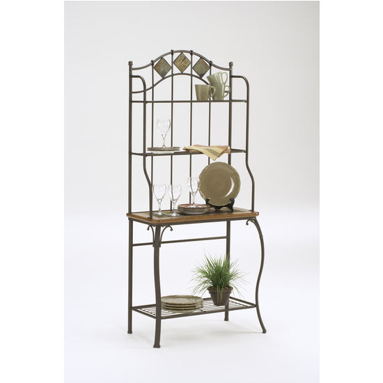 Slate Lakeview Baker's Rack with Medium Oak & Slate Inlay Shelf by Hillsdale Furniture