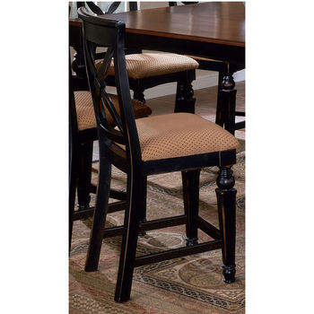 Hillsdale - Northern Heights Non-Swivel Stool with Black Base and Cherry Top Sold in Set of 2