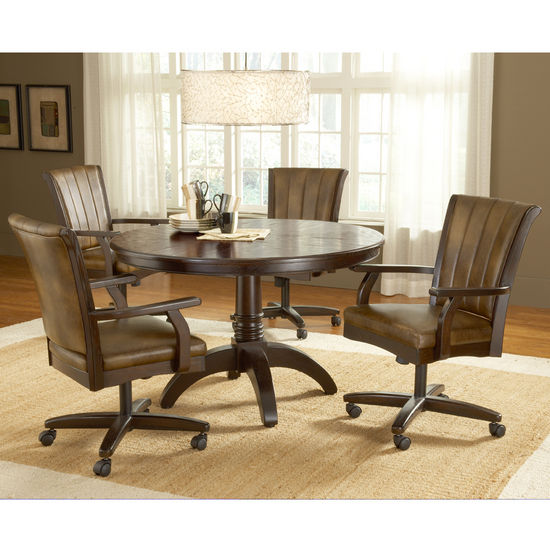 Dining Room Chairs With Wheels: Hillsdale Grand Bay Cherry Round Dining Set With Caster
