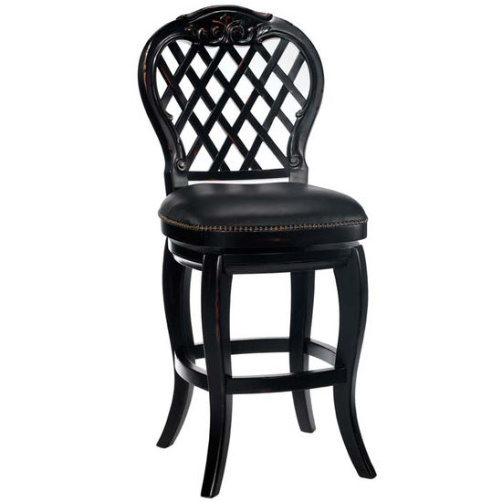 Hillsdale - Braxton Wood Counter or Bar Height Stool with Black Leather Seat