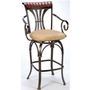 "Hillsdale - Fairfield Swivel Counter Stool, 23 1/2"" W x 24"" D x 42"" H, Black Gold/Cherry"