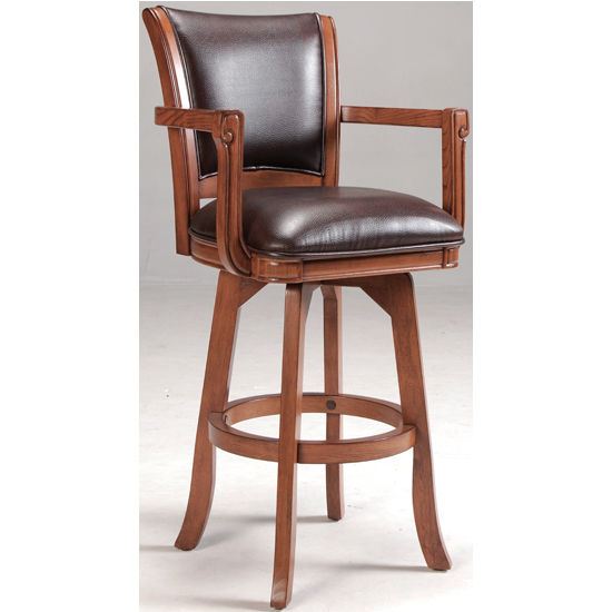 "Hillsdale Park View Open Arm Swivel Bar Stool, 23-1/4"" W x 22"" D x 44-1/2"" H, Medium Brown Oak"