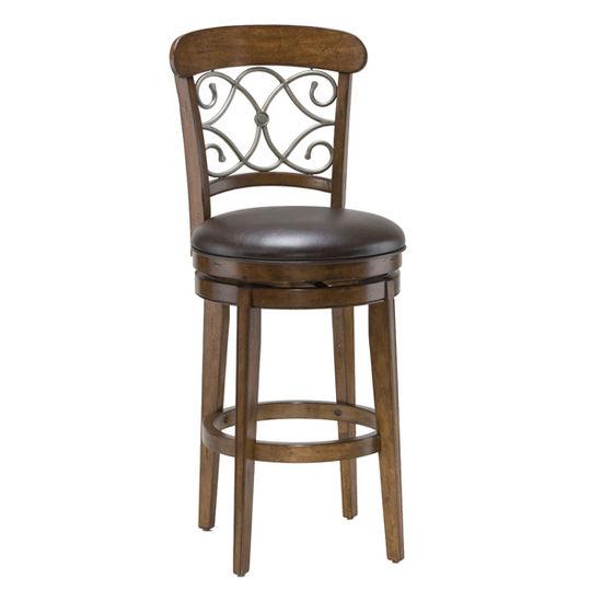 Hillsdale Furniture - Bergamo Swivel Bar Stool, Medium Brown Cherry