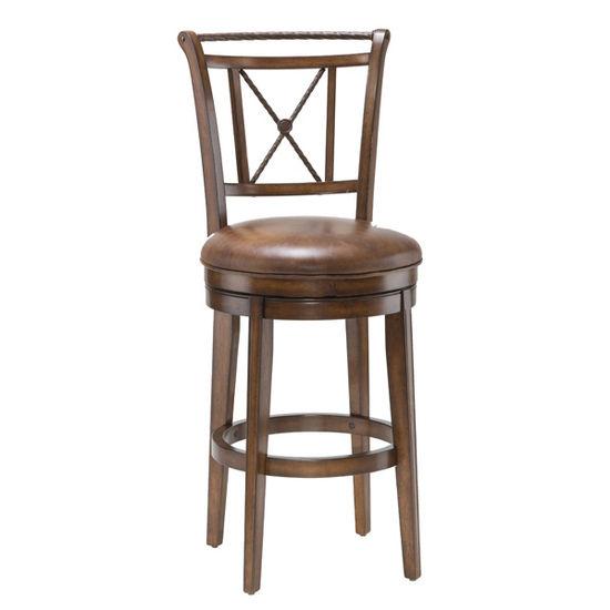 Hillsdale Furniture - Lemans Swivel Bar Stool, Medium Brown Cherry