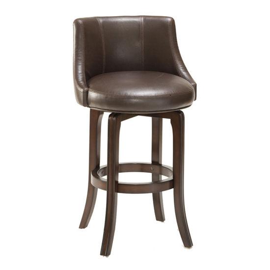 Hillsdale Furniture - Napa Valley Swivel Bar Stool - Brown Leather, Dark Brown Cherry
