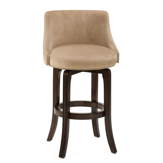 Hillsdale Furniture - Napa Valley Swivel Bar Stool - Textured Khaki Fabric, Dark Brown Cherry