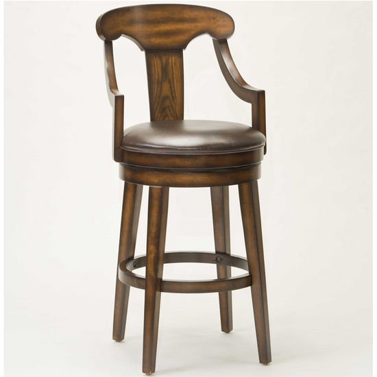 Hillsdale Upton Swivel Bar Stool, Rustic Oak, 22 inch W x 23 inch D x 45-1/2 inch H, 30-1/2 inch Seat Height