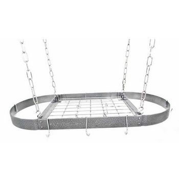 Hammered Steel Medium Oval Pot Rack