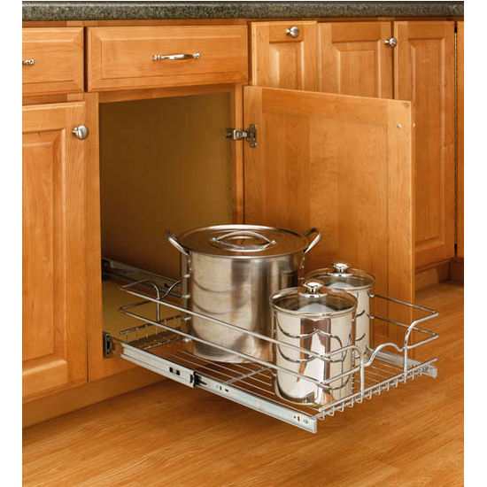 Shelves For Kitchen Cabinets: Rev-A-Shelf Single Kitchen Cabinet Chrome Pull-Out Baskets