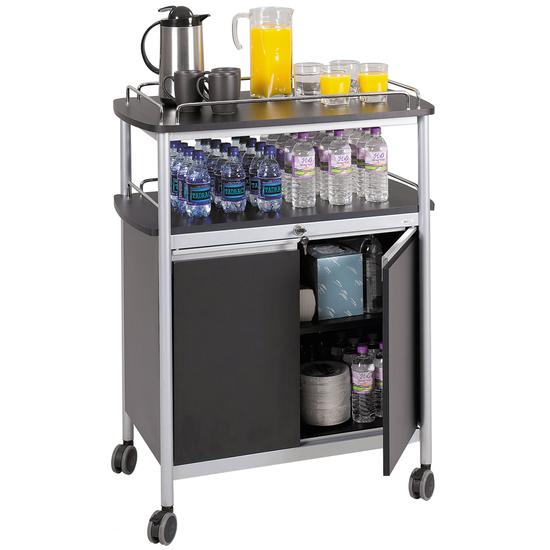 Safco Steel Mobile Beverage Kitchen Cart, 33-1/2 W x 21-3/4 D x 43 H, Black