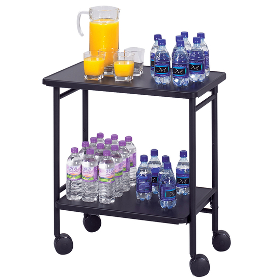 Safco Steel Folding Office/Beverage Kitchen Cart, 26 W x 15 D x 30 H, Black