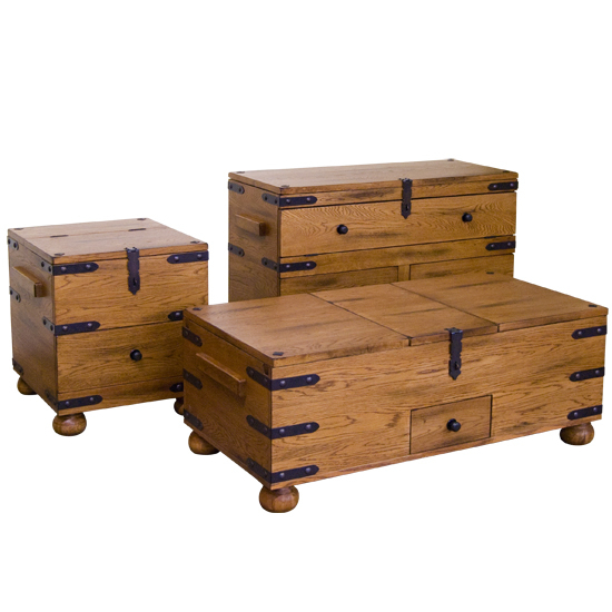 Seabrook Designs Sedona Trunk Coffee Table Rustic Oak 48w X
