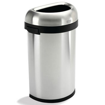 simplehuman � Semi-Round Open Can, Brushed Stainless Steel, 16 Gallon (60L)