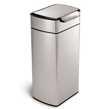 simplehuman Rectangular Touch Bar Trash Can, Fingerprint-Proof Brushed Stainless Steel, 8 Gallon (30L)