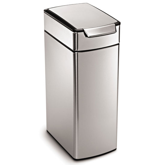 simplehuman Slim Touch Bar Trash Can, Fingerprint-Proof Brushed Stainless Steel, 10.5 Gallon (40L)